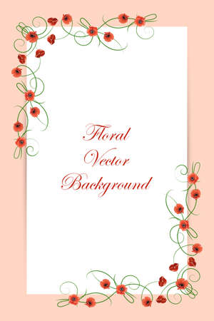 swirl border: Floral vector background with red poppies for greeting card or invitation design.