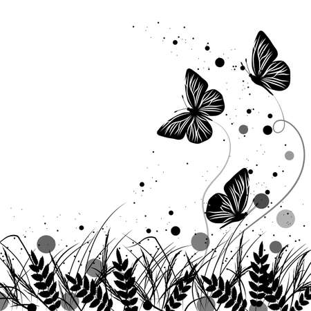 black and white image drawing: Beautiful natural background with silhouettes of grass and butterflies. Vector illustration in black and white style. Illustration