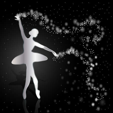 Silver ballerina holding a whirl with magic shine dust on dark background.