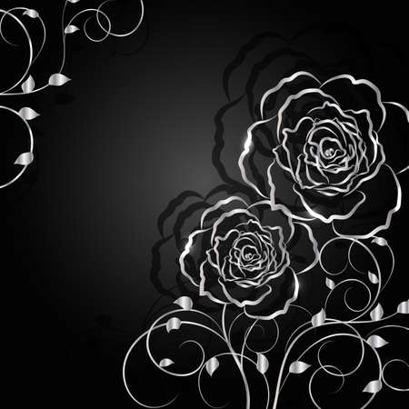 Silver flowers with shadow on dark background. Vector illustration.