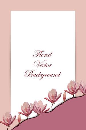 magnolia branch: Spring floral background with pink magnolia branch for greeting card or invitation design. Illustration