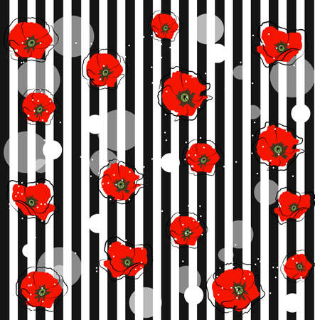red line: Abstract red poppy flowers and white circles on striped background. Floral vector illustration. Illustration