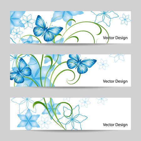 Set of horizontal banners with bouquet of abstract blue flowers and butterflies on white background. Vector Illustration