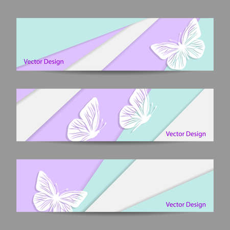A set of vector banners with colored background in material design style with paper butterflies.