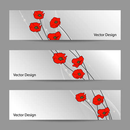 gray strip backdrop: Set of horizontal banners with red poppy flowers, veil and pearls on gray background for use in your designt. Illustration