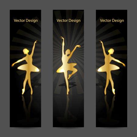 Una serie di moderni banner vettoriali con ballerine oro ballare sul palco.