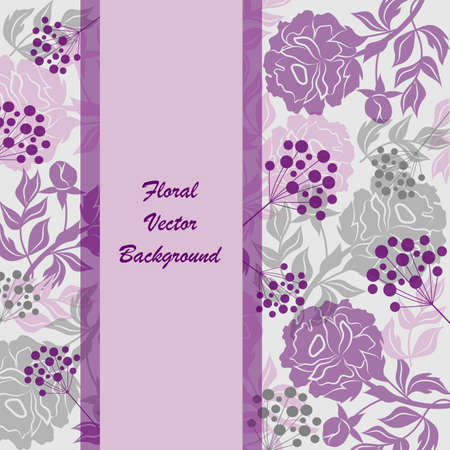 silhoette: Vloral vector background with beautiful silhouettes of flowers and berries. Violet banner with place for your text.