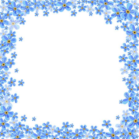 forget me not: Vector frame with blue forget-me-not flowers on a white background. Illustration