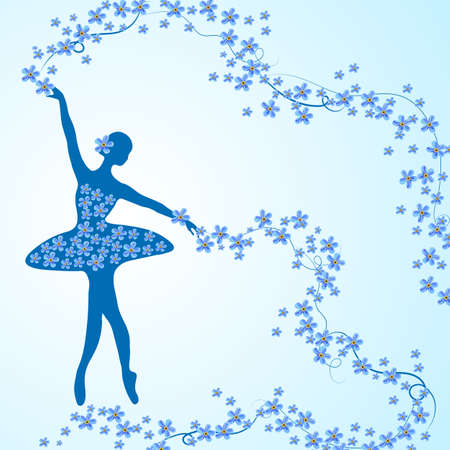Greeting card with silhouette of ballerina holding a whirl with forget-me-not flowers and ribbons. Ilustração