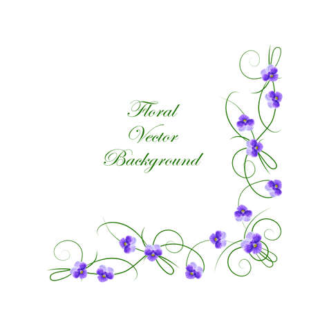 Floral vector background. Corner frame with violet flowers for use in your design.