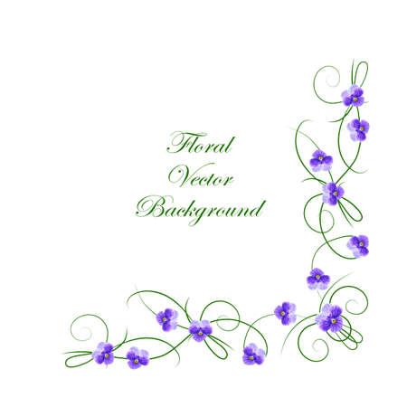 Kwiatowy tło wektor. Rogu ramki z fioletowe kwiaty do użytku w projekcie.