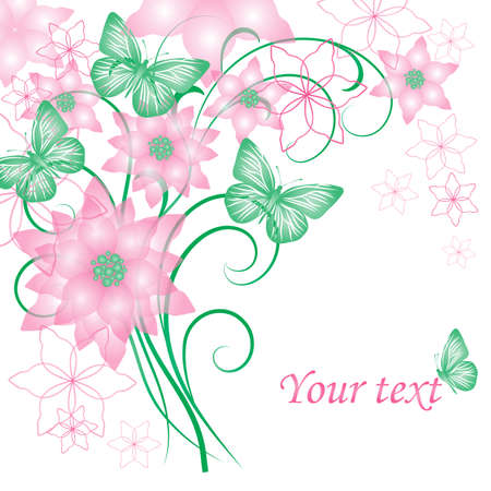 Beautiful floral background with butterflies for greeting card or invitation design.