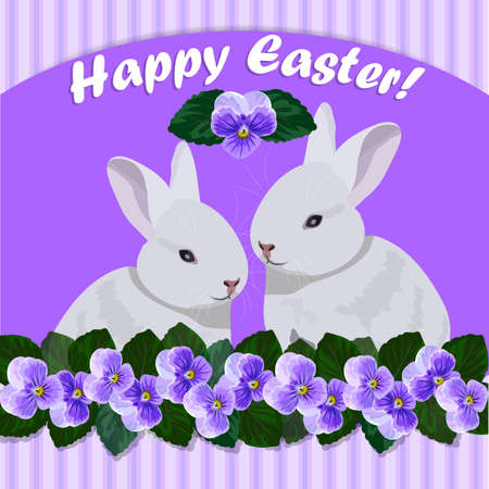 among: Happy Easter greeting card. Two white rabbits sitting on violet background among the beautiful flowers.