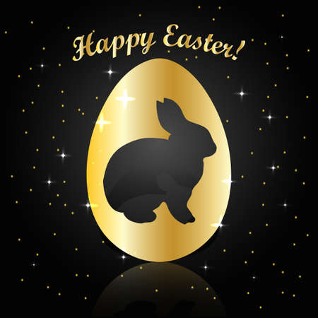 gold egg: Happy Easter greeting card. Silhouette of rabbit in gold egg with reflection. Vector illustration on dark background with stars.