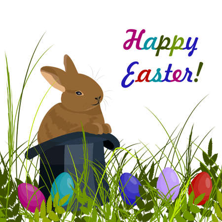 brown hare: Happy Easter greeting card. Cute brown rabbit in magic hat on green grass with colored eggs. Vector illustration on white background. Illustration