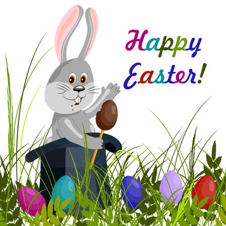 chocolate egg: Happy Easter greeting card. Cute gray rabbit in magic hat eating a chocolate egg. Green grass with colored eggs. Vector illustration on white background.