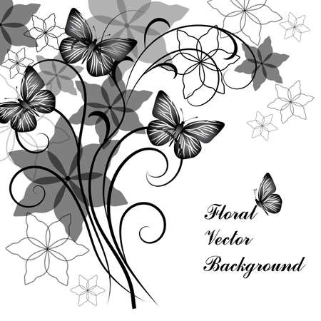 fabled: Beautiful floral background with butterflies in black and white style for greeting card or invitation design. Illustration