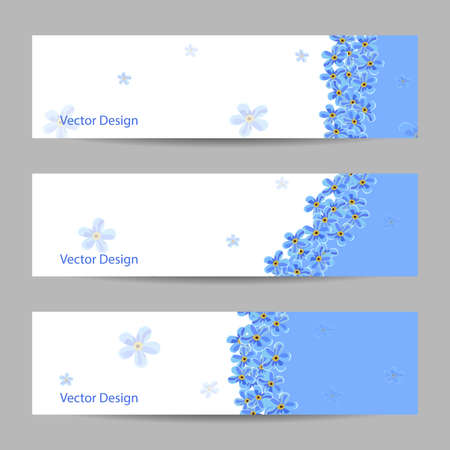 forget me not: Set of horizontal banners with blue flowers. Vector illustration.