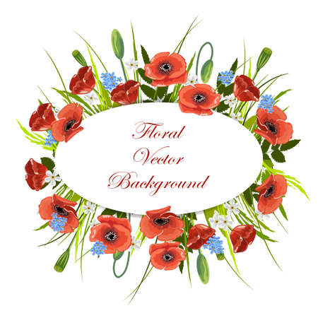 Holiday background with wild flowers and oval label. Vector illustration. Illustration