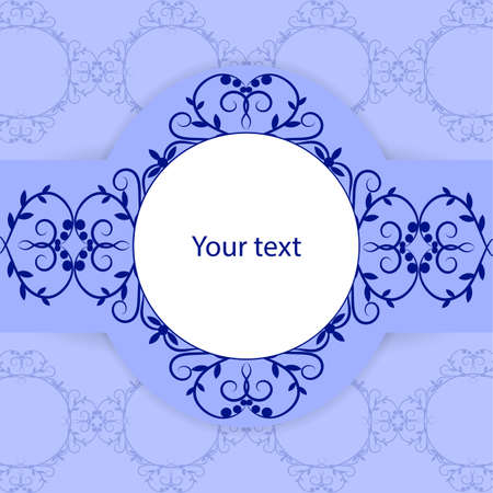 composition art: Vintage card with place for your text on blue background. Illustration