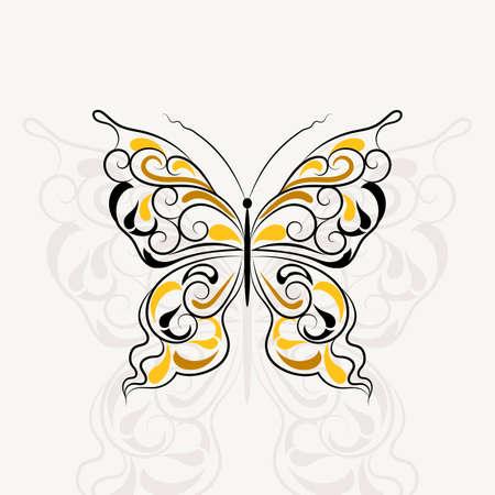 Patrón de la vendimia en una forma de una mariposa con la sombra aislada en el fondo blanco.