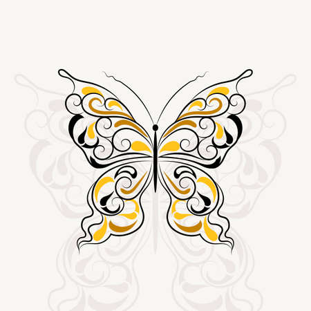 butterfly isolated: Vintage pattern in a shape of a butterfly with shadow isolated on white background. Illustration