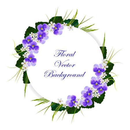 Floral background vecteur. Composition de violettes, fleurs blanches, feuilles vertes et herbes. Blanc bannière ronde avec place pour votre texte.