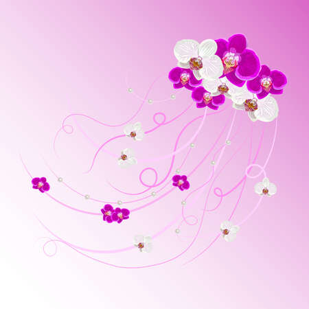 arrangement: Arrangement of orchid flowers and pearls on pink background for greeting card or invitation design.