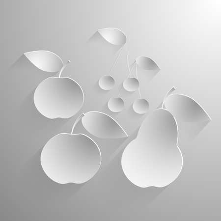 embossing: Vector illustration of two apples, pear and cherries in black and white.