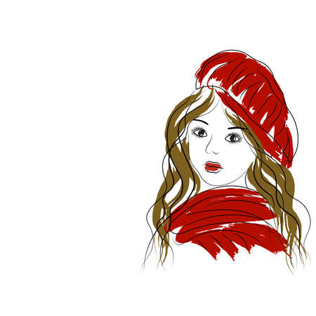 Beautiful romantic girl in red hat and scarf.