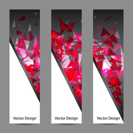 forme geometrique: Un ensemble de bannières vecteur vertical avec des triangles roses sur backgrond sombre. Abstract explosion. Affaires, la science, la médecine et la conception de la technologie. Illustration