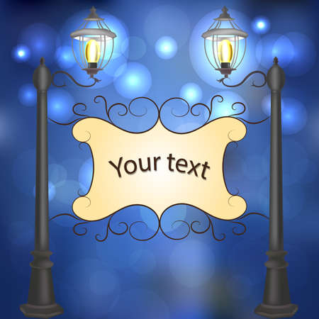 evening: Evening landscape with vintage lampposts and frame for your text.