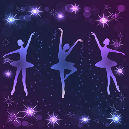 strew: Tender ballerinas strewing magic shine dust on violet background with stars.