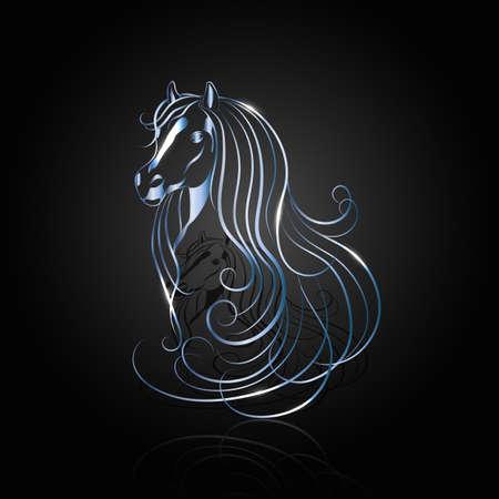 blu acciaio cavallo astratta con la riflessione su sfondo nero.