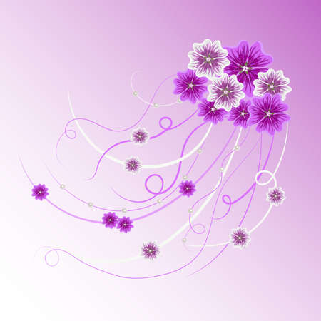 arrangement: Arrangement of violet and white mallow flowers and ribbons with pearls  for greeting card or invitation design. Floral vector background.