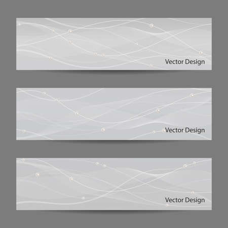 pearls and threads: Set of horizontal banners with white stripes, veil and pearls on gray background for use in your designt.