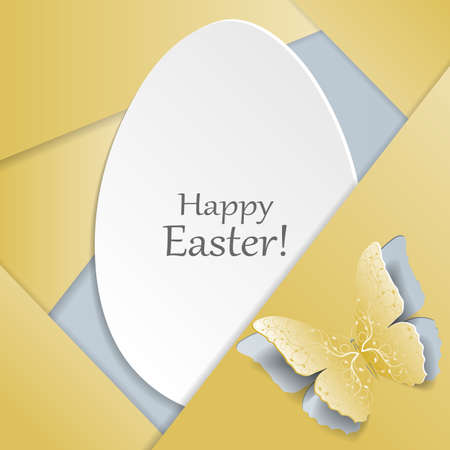 egg plant: Happy Easter greeting card. White egg and yellow butterfly with plant pattern cut out of paper. Material design style. Illustration