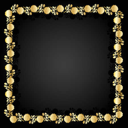 gilding: Beautiful gold frame with floral pattern on dark background.
