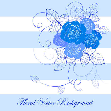 blue roses: Vloral vector illustration with beautiful blue roses. Blue and white striped background.
