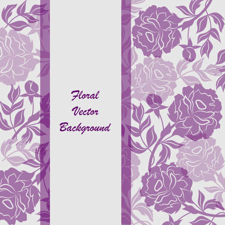 silhoette: Modern vector templates for brochure cover in A4 size. Vloral vector background with violet peony flowers.