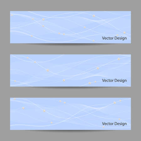 pearls and threads: Set of horizontal banners with white stripes, veil and pearls on blue background for use in your designt.