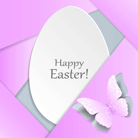egg plant: Happy Easter greeting card. White egg and pink butterfly with plant pattern cut out of paper. Material design style.