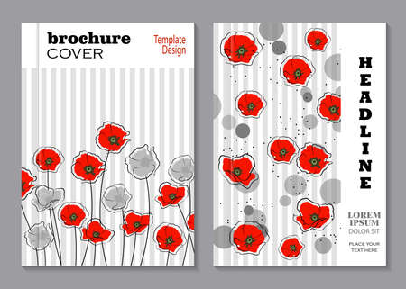 silhoette: Modern vector templates for brochure cover in A4 size. Abstract red and gray poppy flowers with circles on striped background.