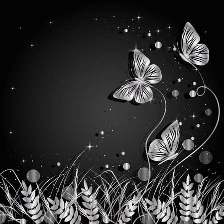 Beautiful natural background with silhouettes of grass and butterflies. Silver illustration on dark background.