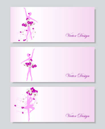 tender: A set of horizontal vector banners with tender ballerinas in floral dress.