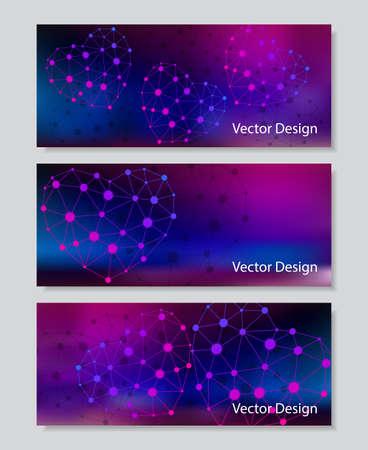 corazones azules: Conjunto de banners horizontales. Corazones abstractos con sombra hechas de puntos conectados en el fondo de color. Negocios, la ciencia, la medicina y la tecnología de diseño.
