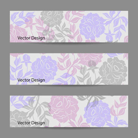 flower banner: Set of horizontal banners. Vloral vector background with colored peonies. Illustration