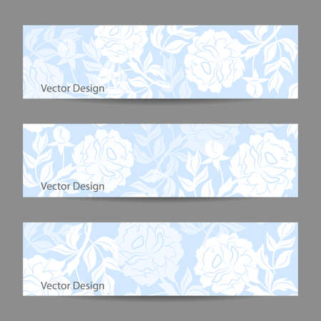 silhoette: Set of horizontal banners. Blue vector background with white peonies. Illustration