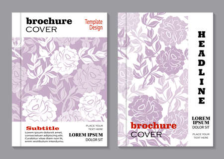 silhoette: Modern vector templates for brochure cover in A4 size. Vloral vector background with peony flowers.