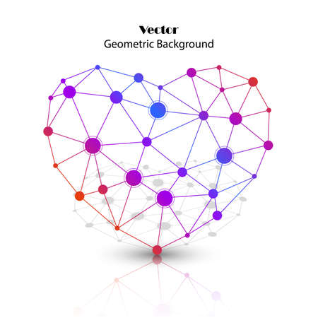 Colorful vector heart made of connected points with reflection. Icon for medicine, science, technology , chemistry and Valentines Day.